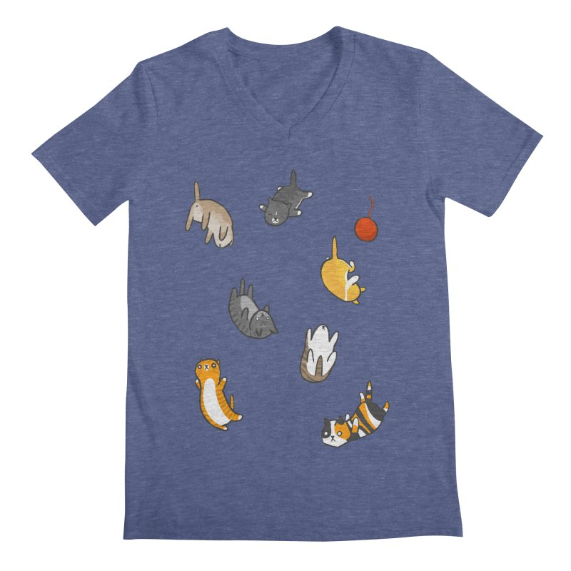 Kitten Rain Men's Regular V-Neck by Damien Mason's Artist Shop