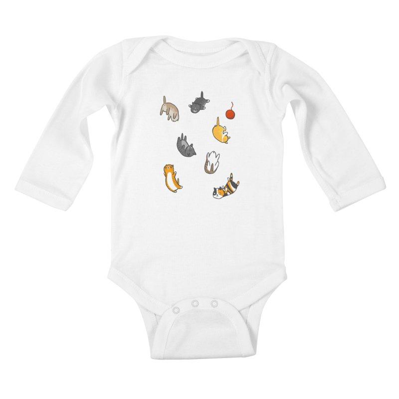 Kitten Rain Kids Baby Longsleeve Bodysuit by Damien Mason's Artist Shop