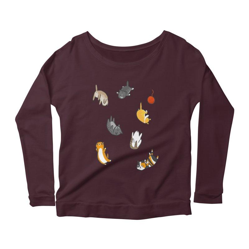 Kitten Rain Women's Scoop Neck Longsleeve T-Shirt by Damien Mason's Artist Shop