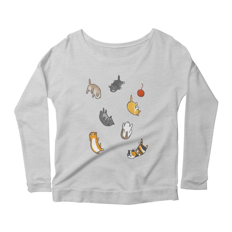Kitten Rain Women's Longsleeve Scoopneck  by Damien Mason's Artist Shop