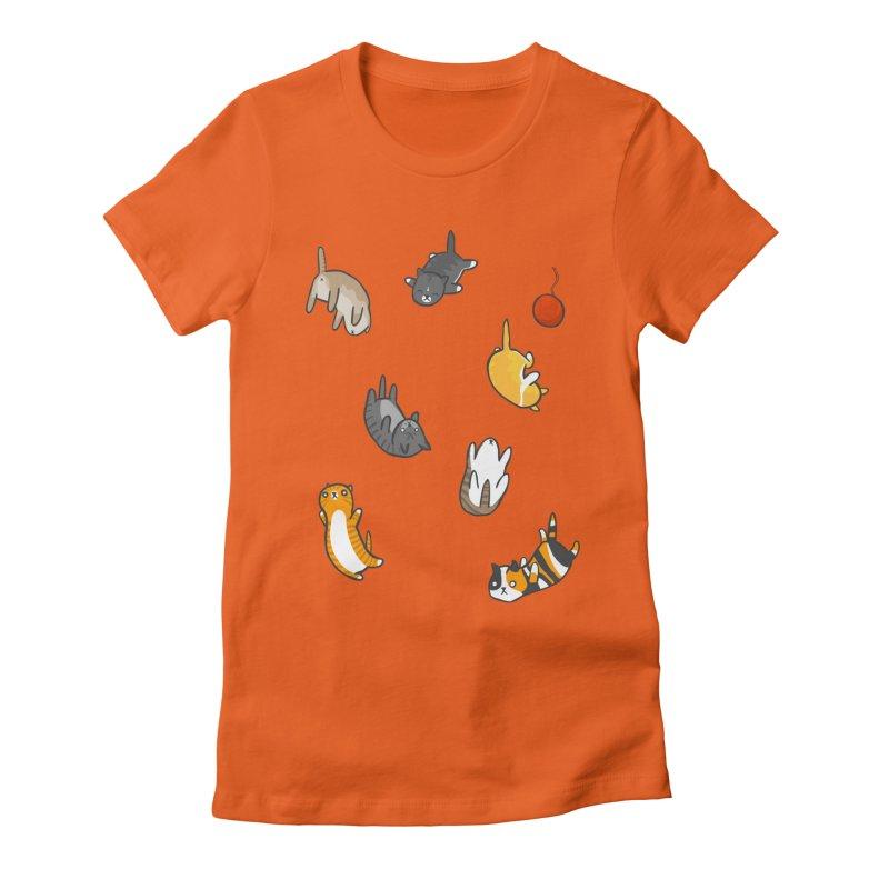 Kitten Rain Women's Fitted T-Shirt by Damien Mason's Artist Shop