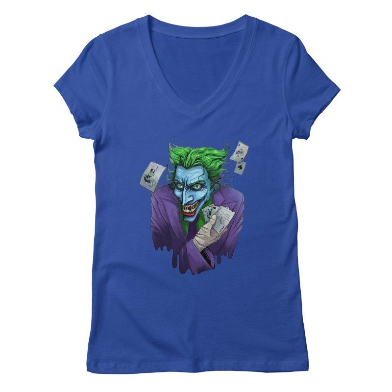 Joker Women's V-Neck by Diana's Artist Shop