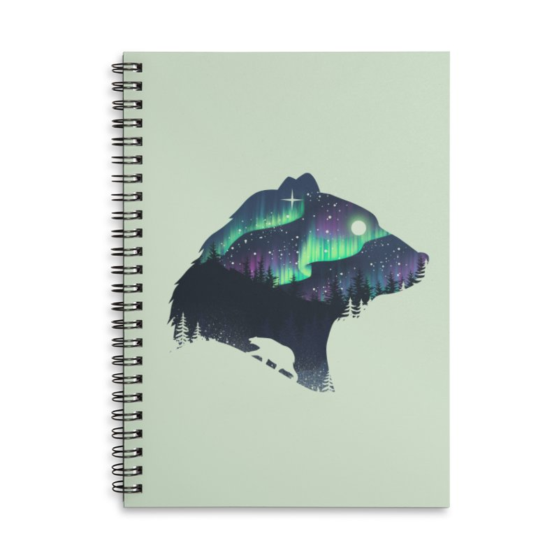 Northern Lights Accessories Lined Spiral Notebook by dandingeroz's Artist Shop
