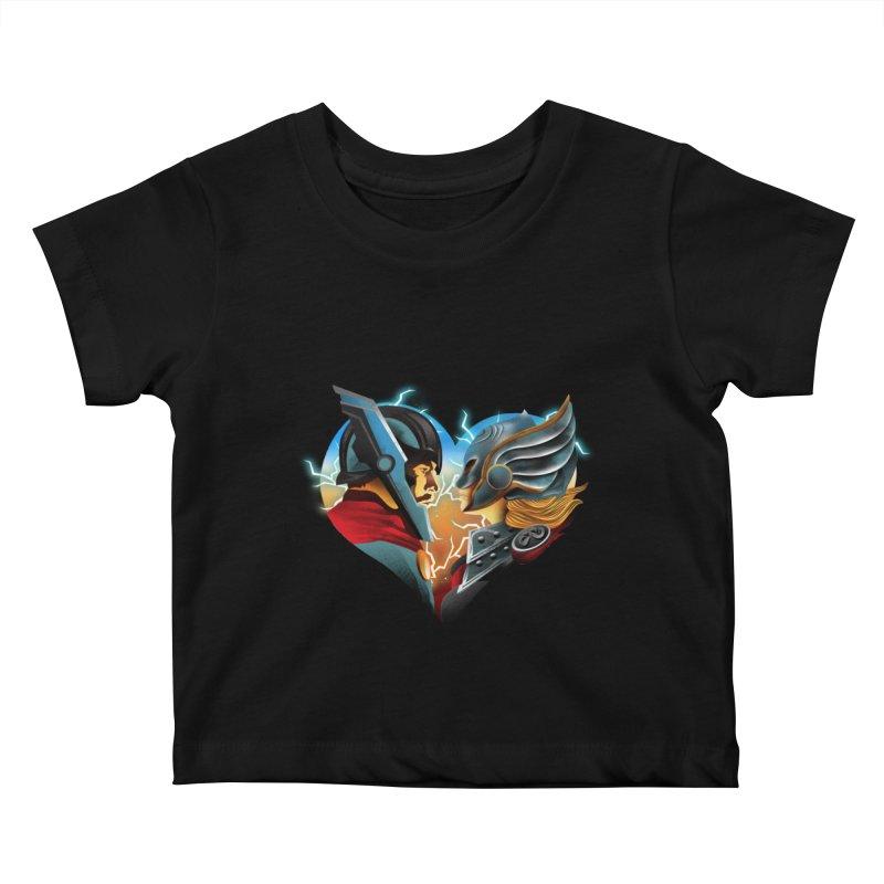 Love & Thunder Kids Baby T-Shirt by dandingeroz's Artist Shop