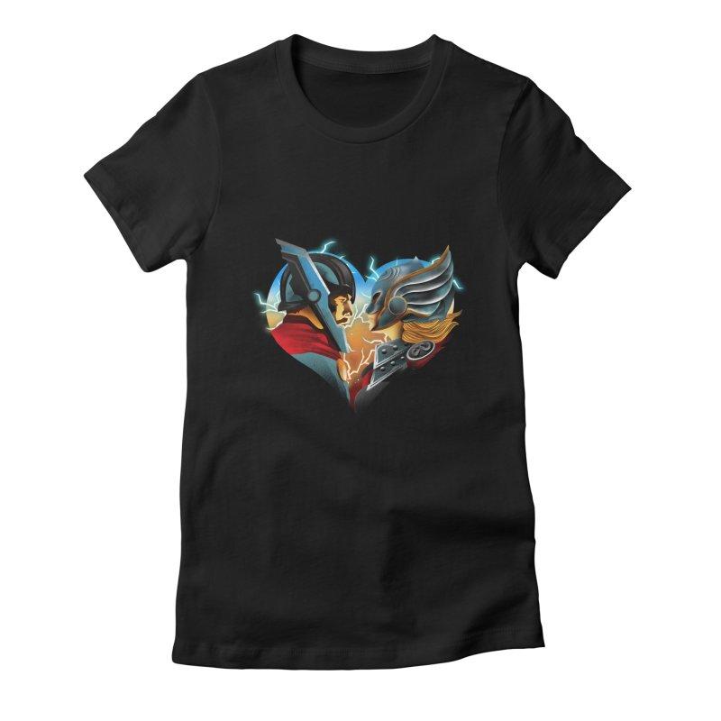 Love & Thunder Women's Fitted T-Shirt by dandingeroz's Artist Shop