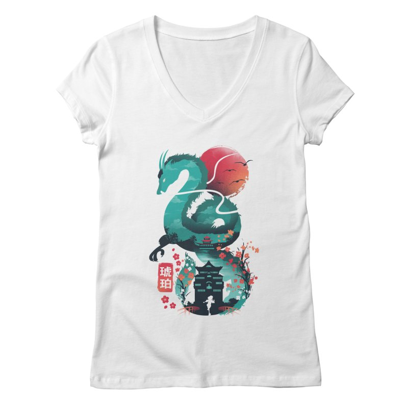 Haku Ukiyoe Women's Regular V-Neck by dandingeroz's Artist Shop