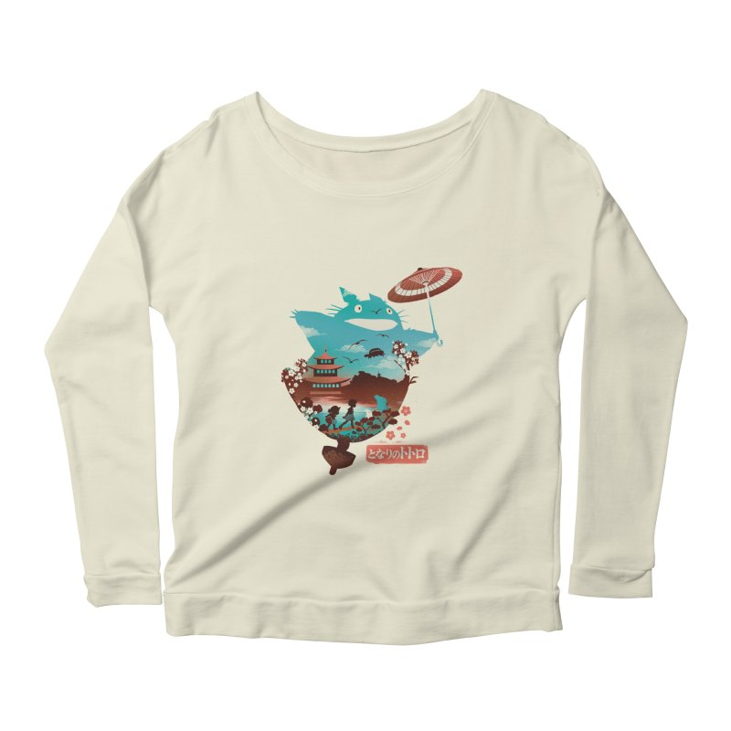 Happy Neighbor Ukiyoe Women's Scoop Neck Longsleeve T-Shirt by dandingeroz's Artist Shop