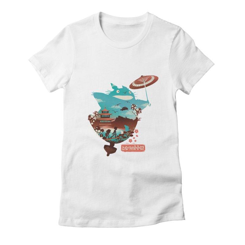 Happy Neighbor Ukiyoe Women's Fitted T-Shirt by dandingeroz's Artist Shop