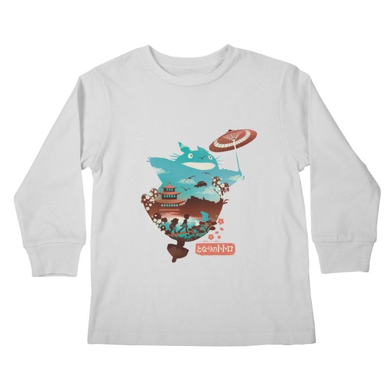 Happy Neighbor Ukiyoe Kids Longsleeve T-Shirt by dandingeroz's Artist Shop
