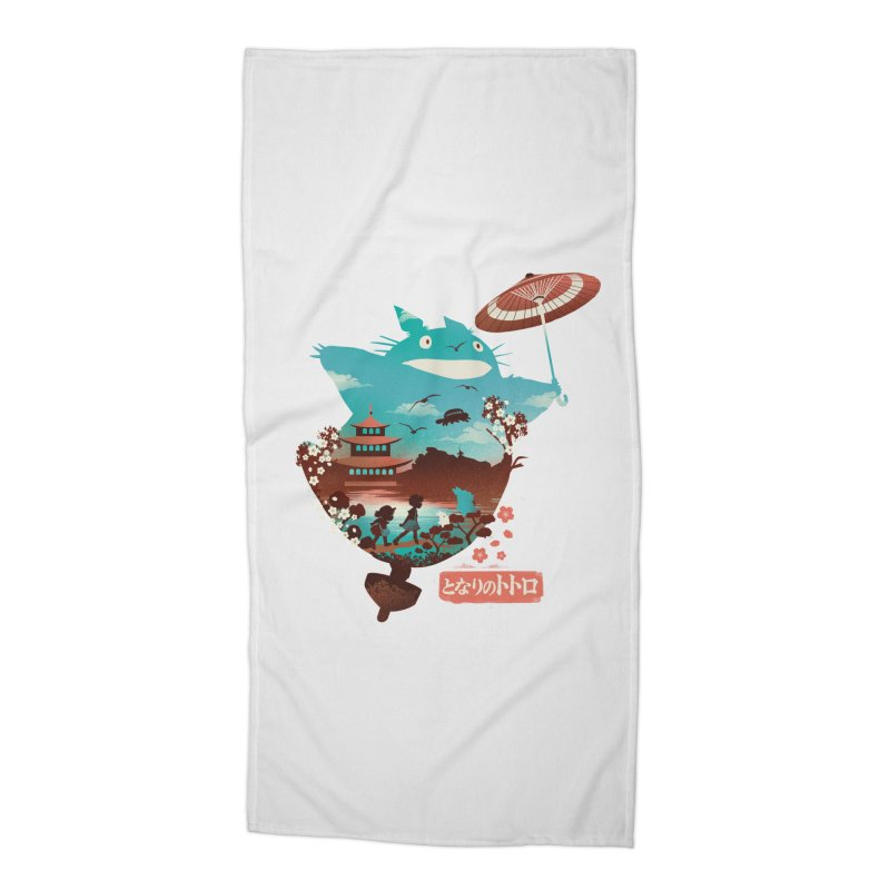Happy Neighbor Ukiyoe Accessories Beach Towel by dandingeroz's Artist Shop