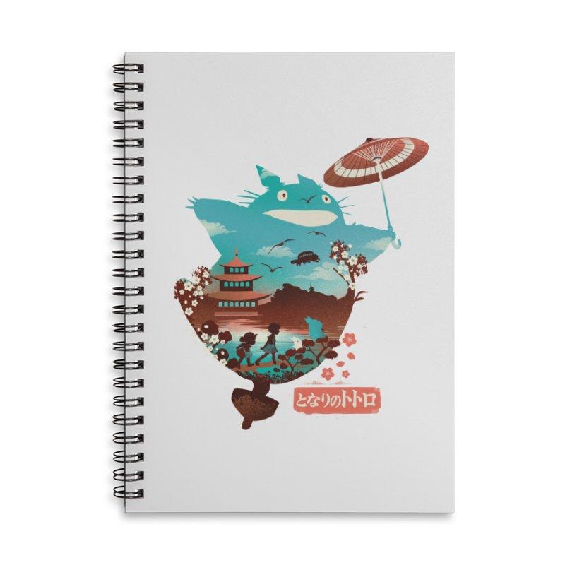 Happy Neighbor Ukiyoe Accessories Lined Spiral Notebook by dandingeroz's Artist Shop