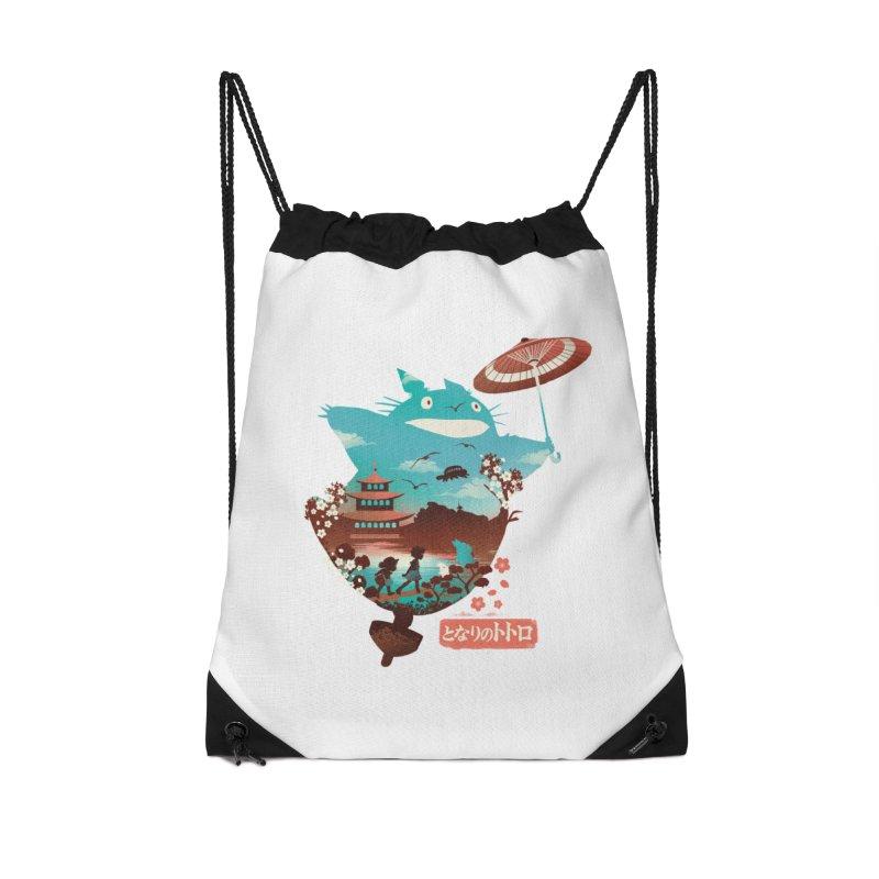 Happy Neighbor Ukiyoe Accessories Drawstring Bag Bag by dandingeroz's Artist Shop