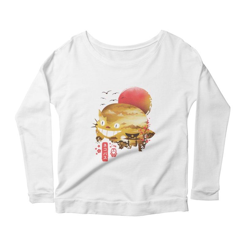 Ukiyo e Catbus Women's Scoop Neck Longsleeve T-Shirt by dandingeroz's Artist Shop