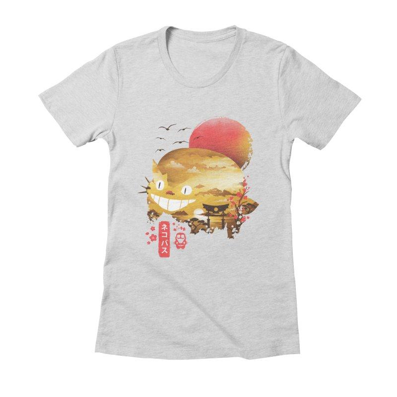 Ukiyo e Catbus Women's Fitted T-Shirt by dandingeroz's Artist Shop