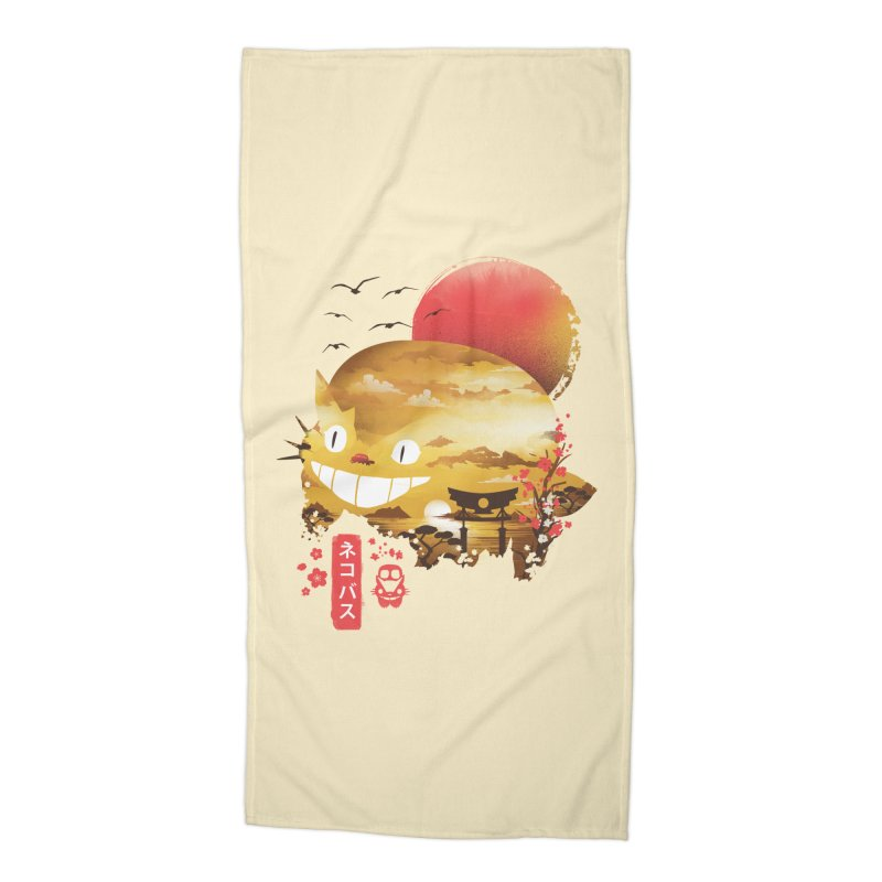 Ukiyo e Catbus Accessories Beach Towel by dandingeroz's Artist Shop