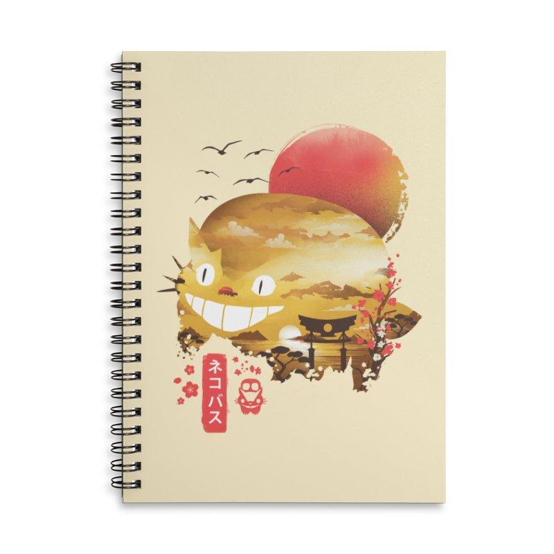 Ukiyo e Catbus Accessories Lined Spiral Notebook by dandingeroz's Artist Shop