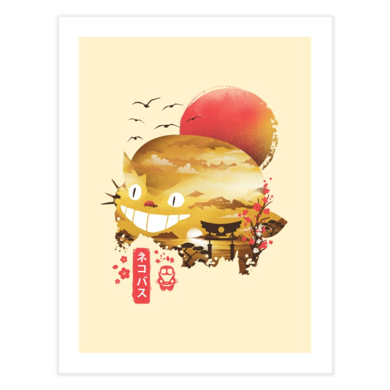 Ukiyo e Catbus Home Fine Art Print by dandingeroz's Artist Shop