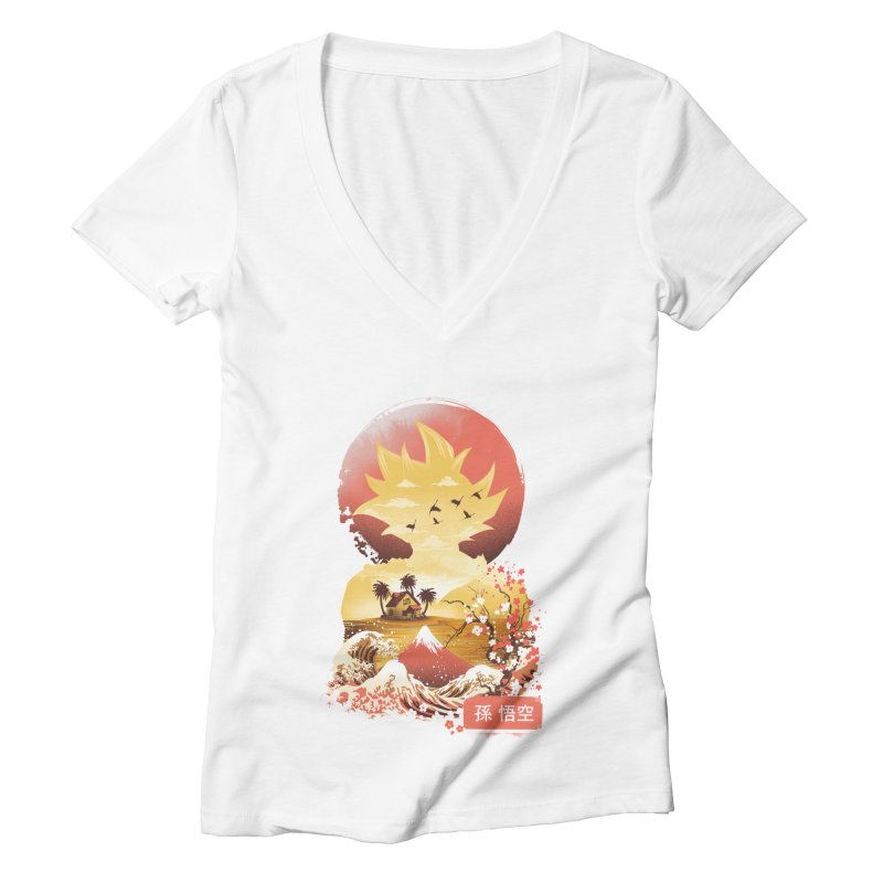 Ukiyo e Super Saiyan Women's Deep V-Neck V-Neck by dandingeroz's Artist Shop
