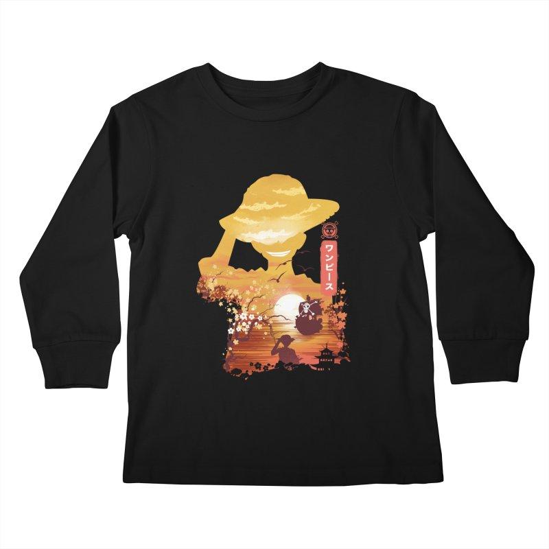 Ukiyo e King of the Pirates Kids Longsleeve T-Shirt by dandingeroz's Artist Shop