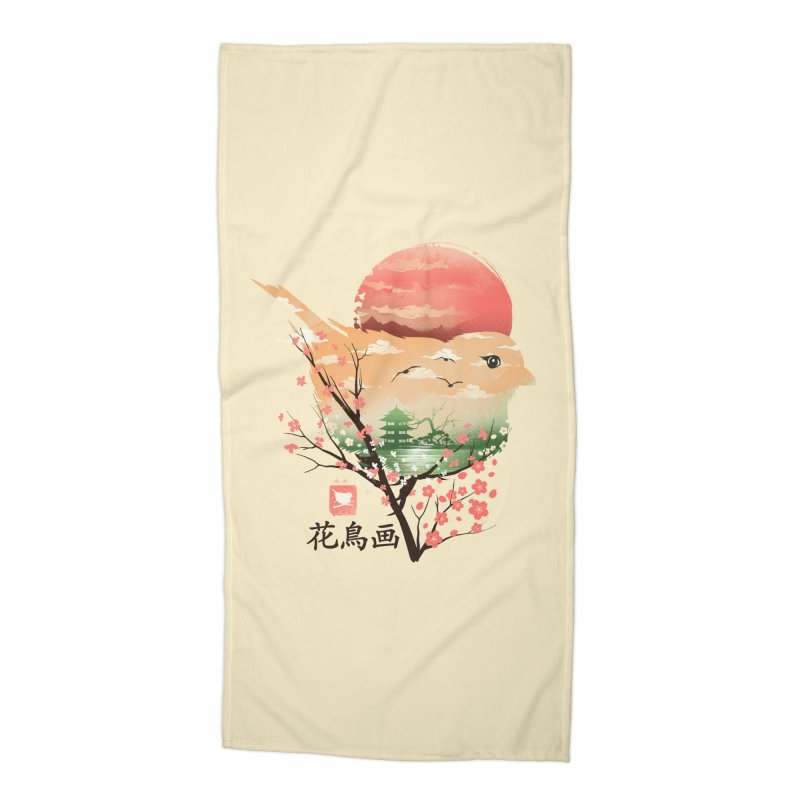 Japanese Bird Accessories Beach Towel by dandingeroz's Artist Shop