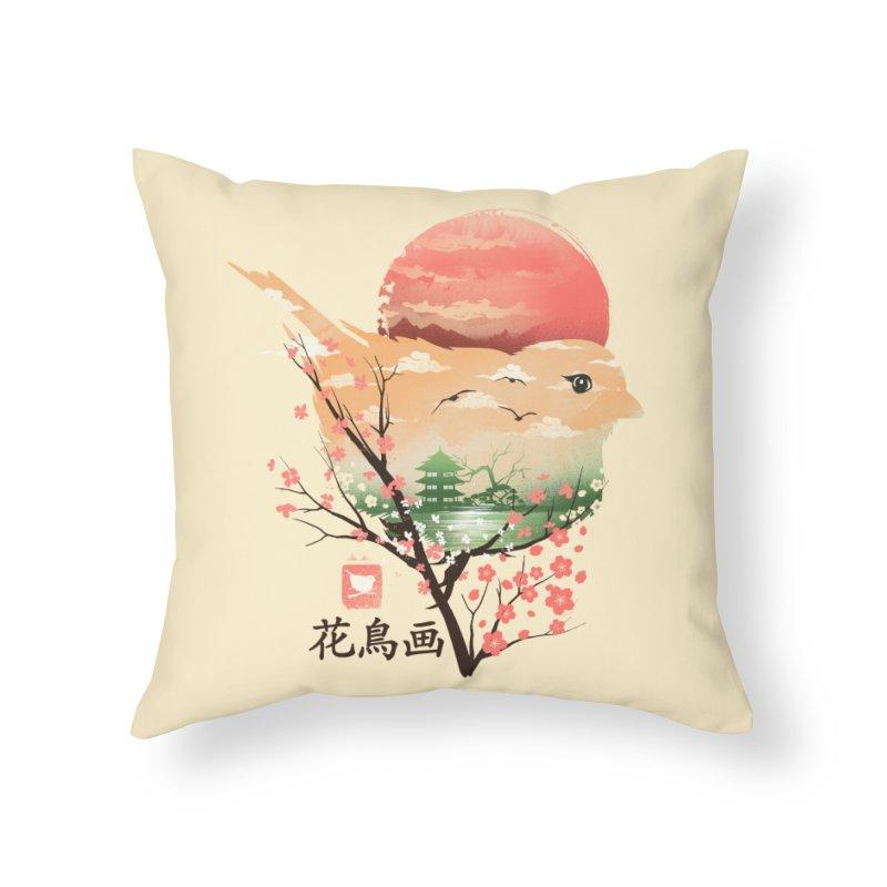 Japanese Bird Home Throw Pillow by dandingeroz's Artist Shop