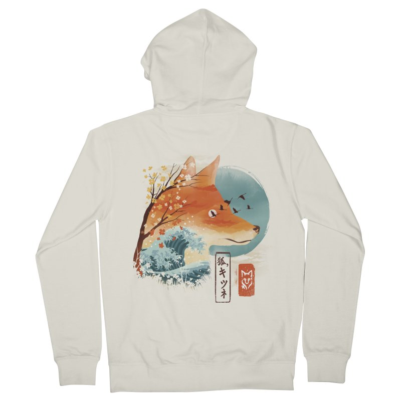 Japanese Fox Women's French Terry Zip-Up Hoody by dandingeroz's Artist Shop