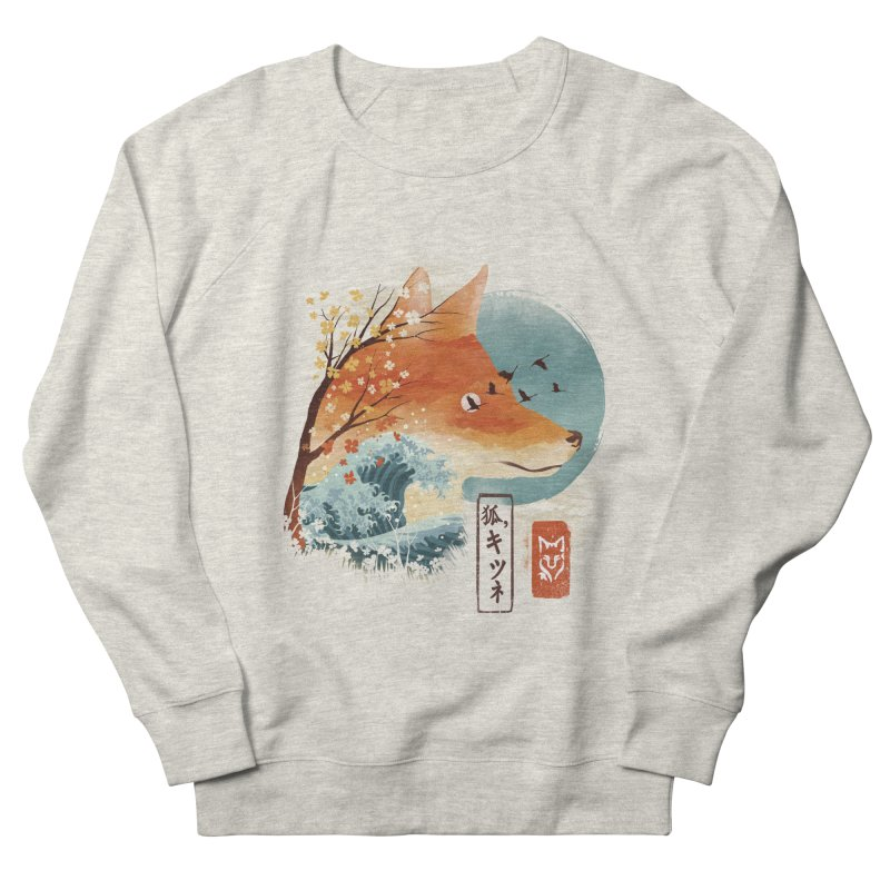 Japanese Fox Women's French Terry Sweatshirt by dandingeroz's Artist Shop