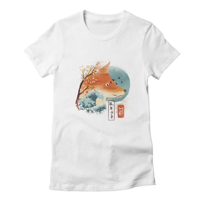 Japanese Fox Women's Fitted T-Shirt by dandingeroz's Artist Shop