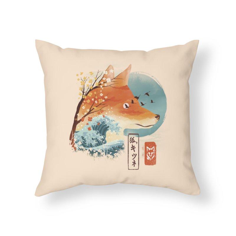 Japanese Fox Home Throw Pillow by dandingeroz's Artist Shop