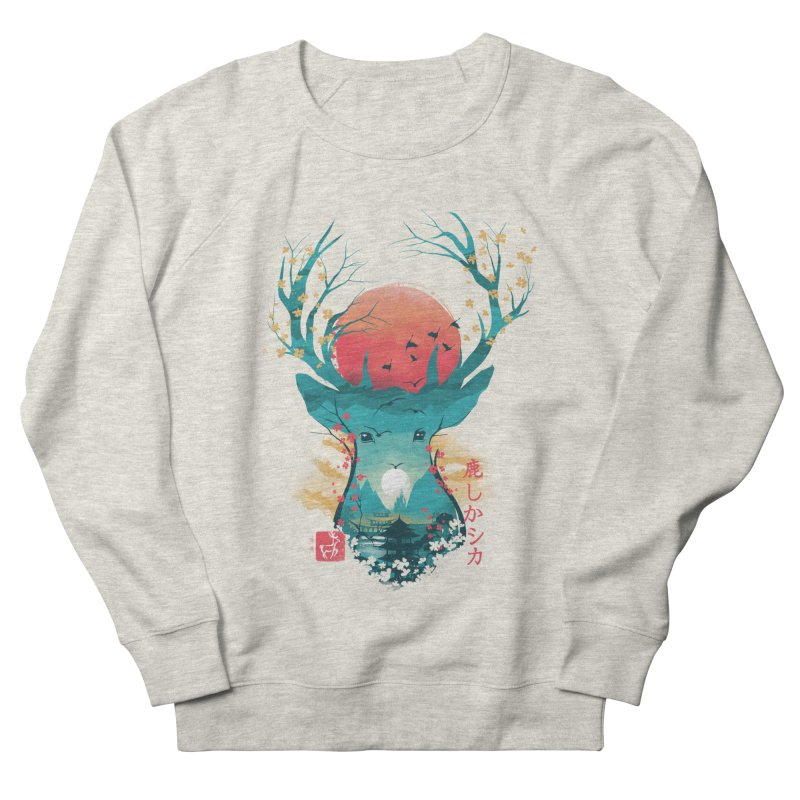Japanese Deer Women's French Terry Sweatshirt by dandingeroz's Artist Shop