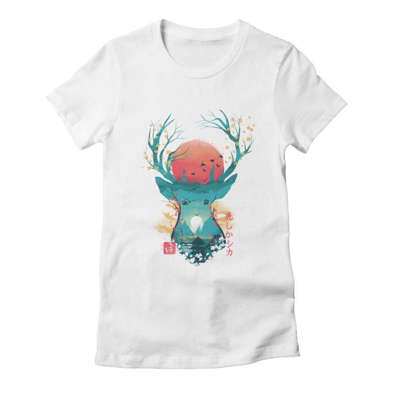 Japanese Deer Women's Fitted T-Shirt by dandingeroz's Artist Shop