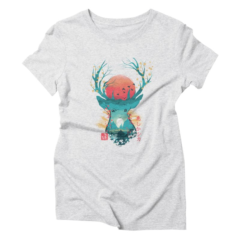 Japanese Deer Women's Triblend T-Shirt by dandingeroz's Artist Shop