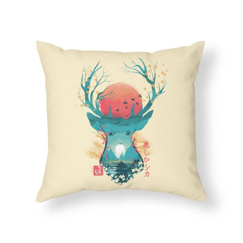 Japanese Deer Home Throw Pillow by dandingeroz's Artist Shop