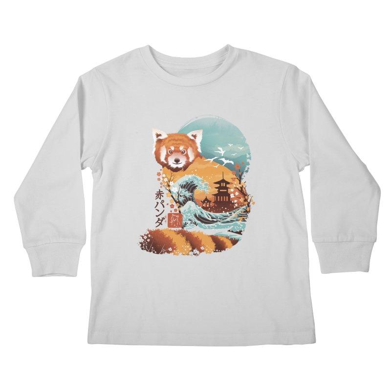 Ukiyo e Red Panda Kids Longsleeve T-Shirt by dandingeroz's Artist Shop