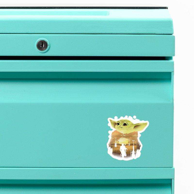 Baby Yoda Sunset Accessories Magnet by dandingeroz's Artist Shop
