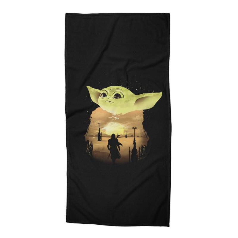 Baby Yoda Sunset Accessories Beach Towel by dandingeroz's Artist Shop