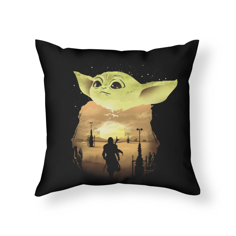 Baby Yoda Sunset Home Throw Pillow by dandingeroz's Artist Shop