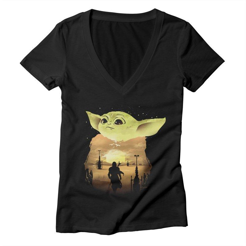 Baby Yoda Sunset Women's Deep V-Neck V-Neck by dandingeroz's Artist Shop