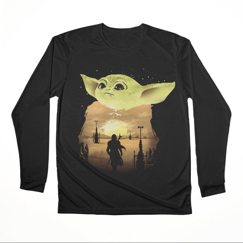 Baby Yoda Sunset Women's Performance Unisex Longsleeve T-Shirt by dandingeroz's Artist Shop