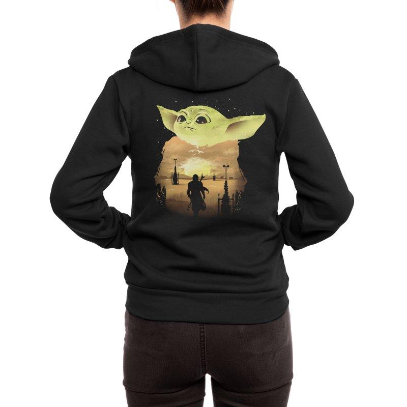 Baby Yoda Sunset Women's Zip-Up Hoody by dandingeroz's Artist Shop