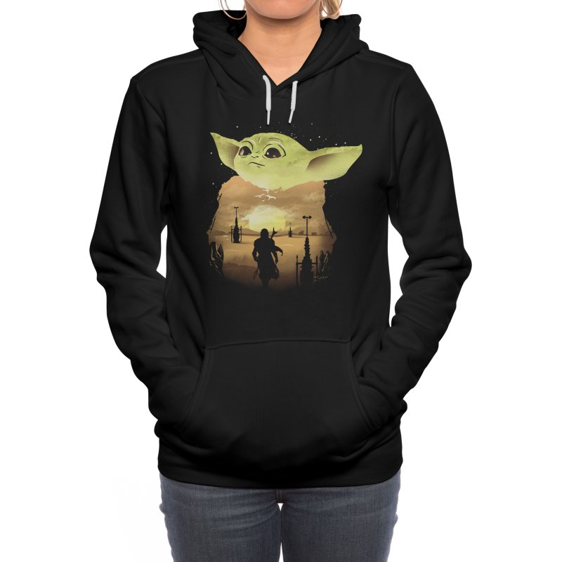 Baby Yoda Sunset Women's Pullover Hoody by dandingeroz's Artist Shop