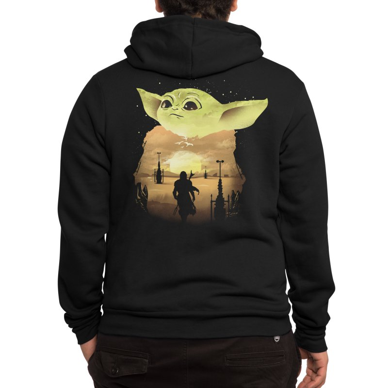 Baby Yoda Sunset Men's Zip-Up Hoody by dandingeroz's Artist Shop