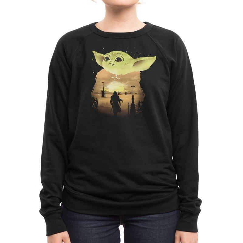 Baby Yoda Sunset Women's Sweatshirt by dandingeroz's Artist Shop