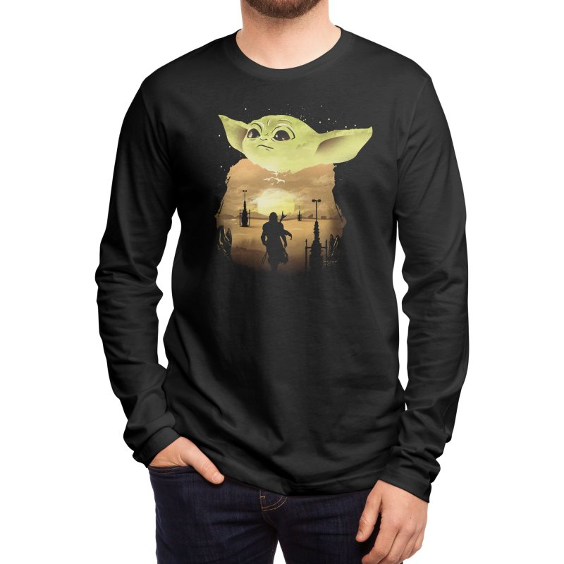 Baby Yoda Sunset Men's Longsleeve T-Shirt by dandingeroz's Artist Shop