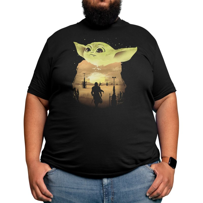 Baby Yoda Sunset Men's T-Shirt by dandingeroz's Artist Shop