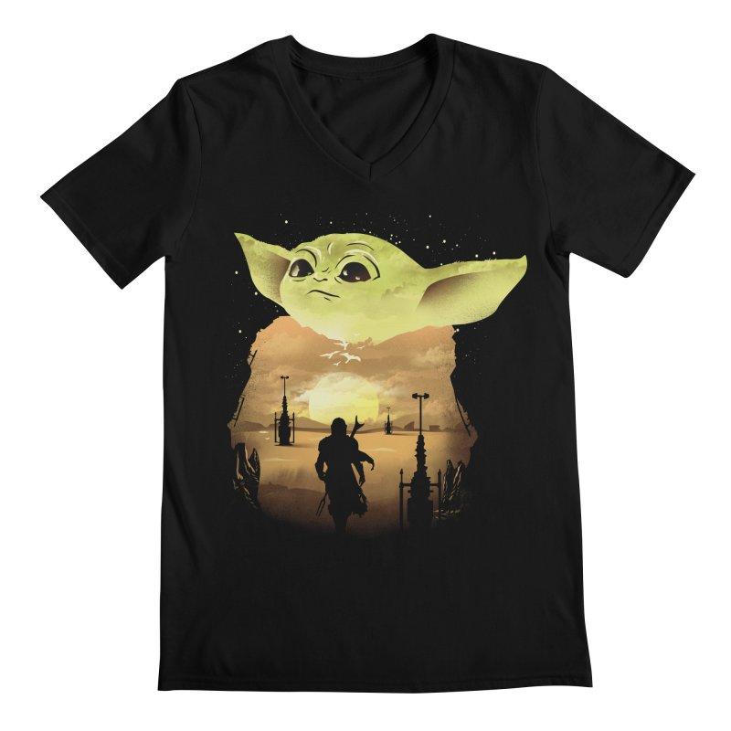 Baby Yoda Sunset Men's V-Neck by dandingeroz's Artist Shop