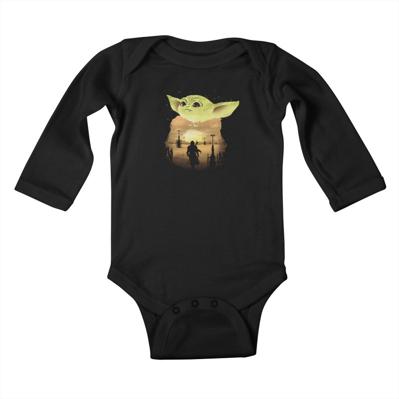 Baby Yoda Sunset Kids Baby Longsleeve Bodysuit by dandingeroz's Artist Shop