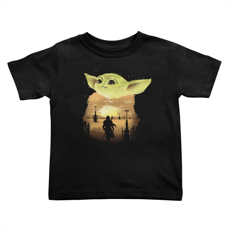 Baby Yoda Sunset Kids Toddler T-Shirt by dandingeroz's Artist Shop