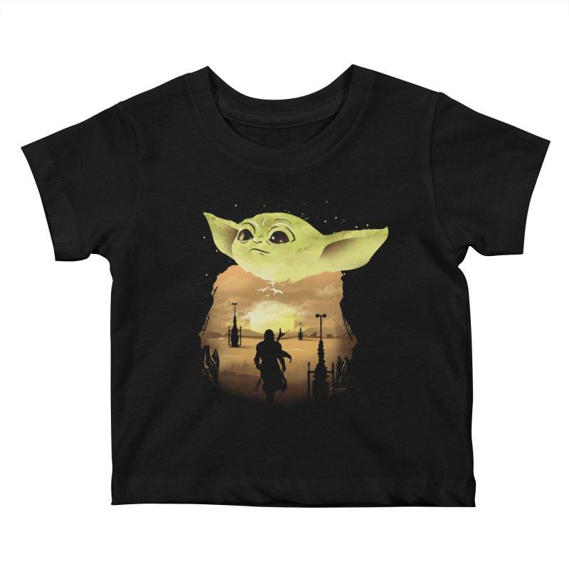 Baby Yoda Sunset Kids Baby T-Shirt by dandingeroz's Artist Shop