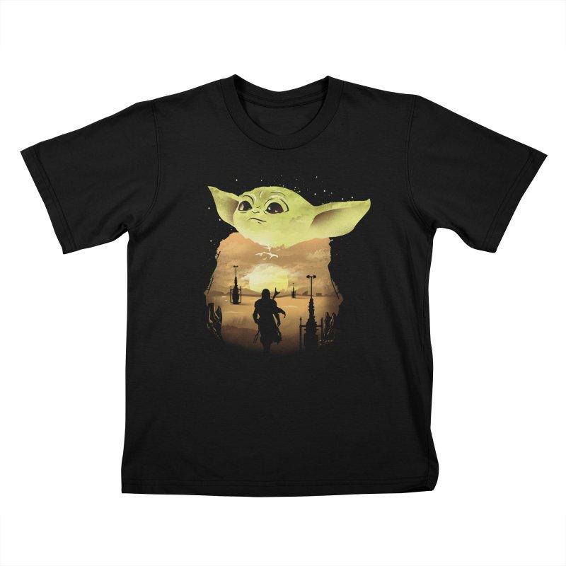 Baby Yoda Sunset Kids T-Shirt by dandingeroz's Artist Shop